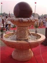 Natural Beige Marble & Tianshan Red Granite Carved Exterior Fortune Ball Fountains Rolling Ball Fountains