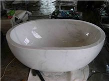 Natural Guangxi White Marble / China Carrara White Marble Carved Bathtub