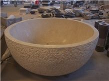 Natural Selvia Beige Marble Carved Round Bathtubs