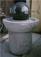 Shanxi Black Granite & G603 Grey Granite Carved Simple Style Garden Fountains Exterior Fountains Rolling Ball Fortune Ball Fountains