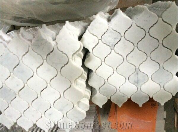 Stone Arabesque Bianco Carrara Marble Tile Mosaic Honed