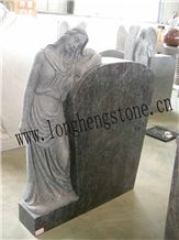 Bahama Blue Granite Tombstone with Angel, Blue Granite Monument & Tombstone