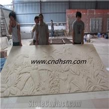 China Beige Sandstone Wall Reliefs