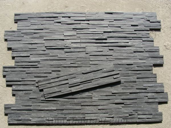 Natural Slim Black Slate Wall Cladding Stone Stack Stone