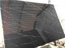 China Local Marble Nero Marquina Tile & Slab, Polished Gangsaw Slab with Size 280cm X 170cm X 1.8cm