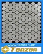 Grey Hexagon Series Mosaic, King Emperador Grey Marble Mosaic