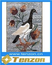 Red White Black Bird Painting Mosaic Arts, Ariston White Marble Mosaic