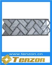 Silvery White Basketweave Mosaic Border Line