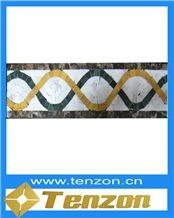 Travertine Mosaic Tile Borders, Breccia Pontificia Marble Mosaic