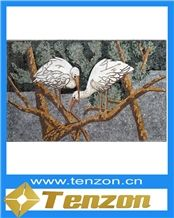 White and Brown Bird Paiting Pattern Art Works