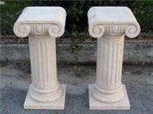 Pedestal Colum Stand by Carved Travertino Romano