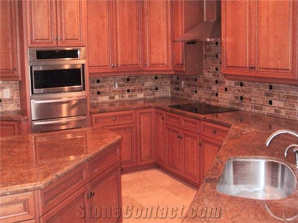 Mosaic Kitchen Backsplash With Juperana Bordeaux Granite Countertops From United States Stonecontact Com
