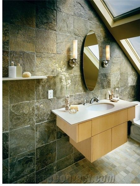 Awe Inspiring Multicolor Green Slate Bathroom Wall Tiles From United States Beutiful Home Inspiration Semekurdistantinfo