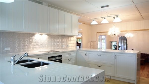 Pure White Solid Surface Kitchen Countertop From Australia