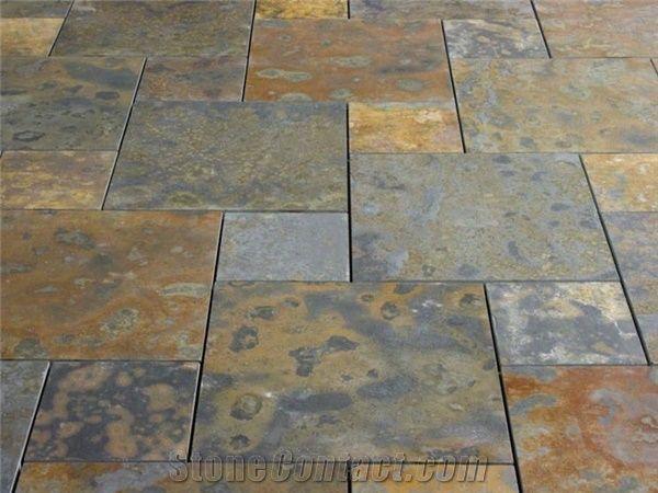 Brazilian Rust Slate Beveled Edge Floor
