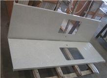 Pure White Quartz Kitchen Countertops, Island Top