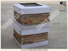 China Yellow Quartzite Decorative Column,Yellow Quartzite Decorative Pillar, Yellow Quartzite Decorative Post