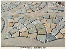 Fan-Shaped Mesh Paving Tumbled Stone, Fan Shape Mesh Slate Stone, Golden Beige Quartzite Flagstone, Golden Quartzite Cube Stone & Pavers