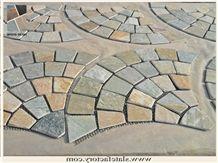 Fan-Shaped Mesh Paving Tumbled Stone, Fan Shape Mesh Slate Stone, Golden Beige Quartzite Flagstone