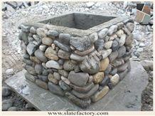 Pebble Stone Decorative Column, Ledger Pebble Decorative Pillar, Ledgestone Decorative Post