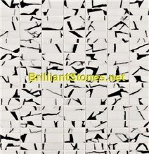 Black Dotted Crystal White Marble Mosaic