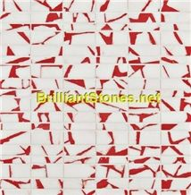 Dotted Light Red Crystal White Marble Mosaic