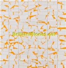 Dotted Orange Crystal White Marble Mosaic