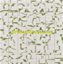 Light Green Dotted Crystal White Marble Mosaic