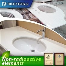 Top Surface Polished Non-Porous Pure White Crystal Glass Stone Bath Tops on Sale