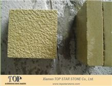 Bush Hammered Yellow Limestone Tile
