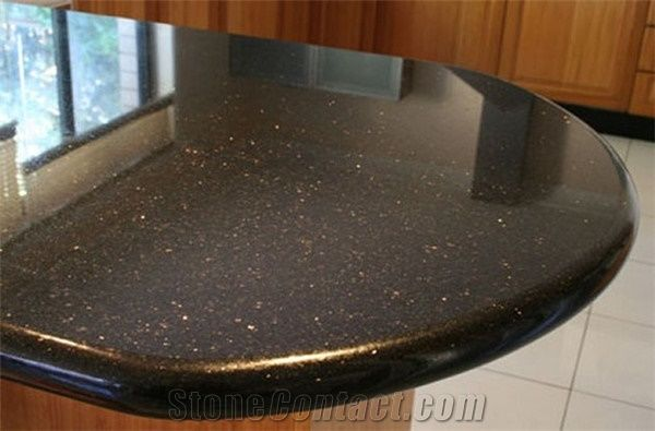 Indian Black Galaxy Granite Kitchen Countertop From China
