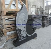 Black Galaxy Headstone with Sculpture