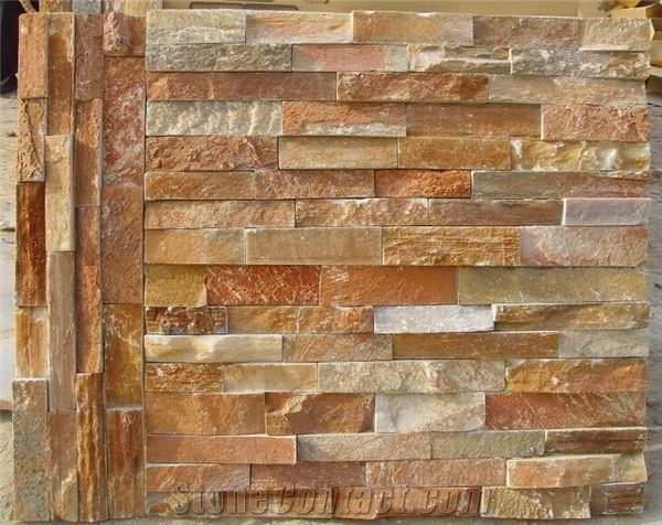 China Slate Cultured Stone Wall Tiles Yellow Wood Grain