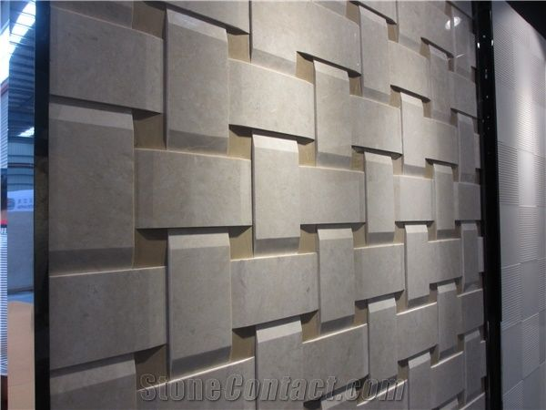 3d Beige Marble Wall Panel Marble Cnc Wall Tile From