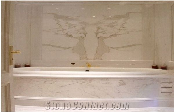 Calacatta Pearl Marble Bathroom Wall Tile,Bathtub Surround from ...