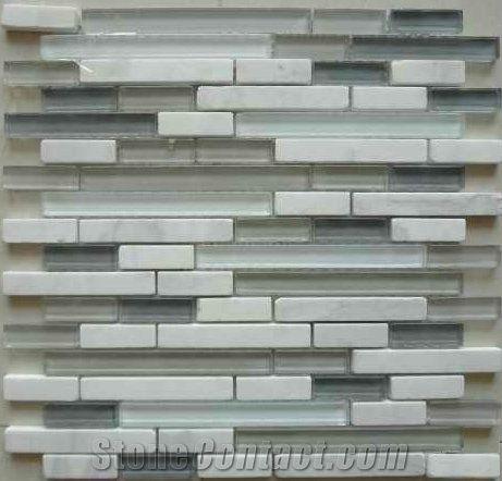 G15481 Strip Crystal Marble Mix Mosaic Lobby Wall Cladding