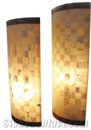 Yellow Onyx Mosaic Floor Lamp From Mexico Stonecontact Com