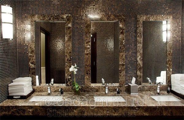 Dark Emperador Marble Commercial Bathroom Top From Russian