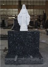 Hunan White Marble Virgin Mary Statue, Blue Pearl Monument