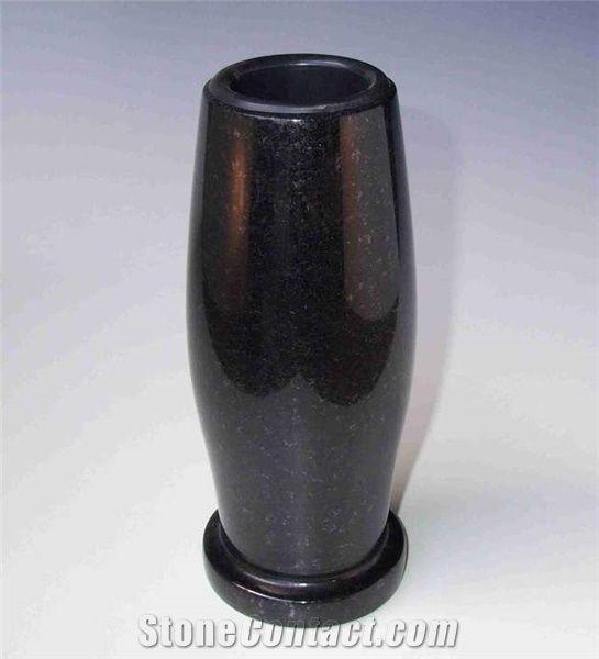 Swedish Standard Black Granite Grave Vase From Germany