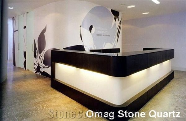 Omag White Black Galaxy Quartz Stone Reception Tops Desk