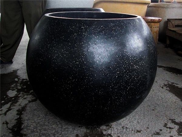 Terrazzo Garden Outdoor Plant Pots Black Flower Pot From