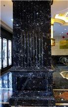 Nero Crystal Marble Interior Column Design, China Black Marble Column