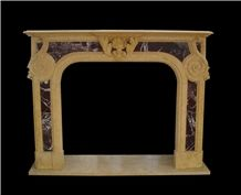 Multicolor Marble Fireplace Surround and Accessories, China Multicolor Marble