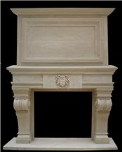 Us Style Marble Fireplace and Accessories, Henan Beige Marble
