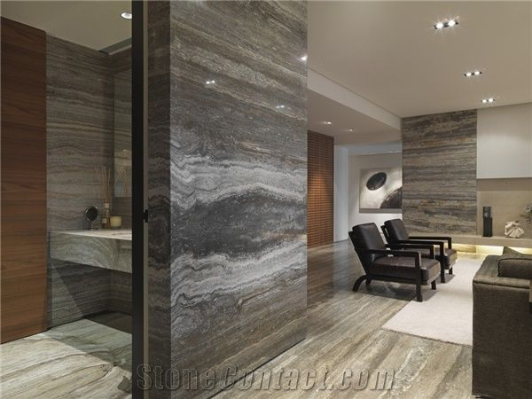 Silver Travertine Slabs Tiles Polished Grey Travertine