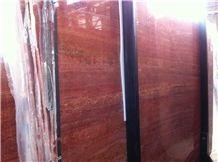 Iran Red Travertine Slabs, Azarshahr Red Travertine Slabs & Tiles