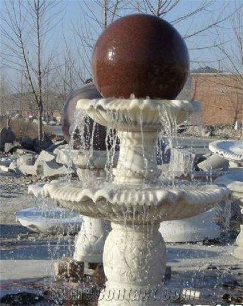 China White Granite Stone Garden Fountains Exterior