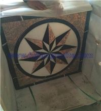 8 Angles,Polished Multicolor Marble Medallion