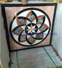 Lotus Flower with 8 Angles Heart,Polished Multicolor Marble Wooden Crate Medallion